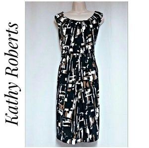 Kathy Roberts Sheath Dress Black Brown White 16/18